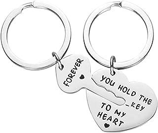 سلسلة مفاتيح من قطعتين من Xihuimay بها حلقة مفاتيح على شكل قلب سلسلة مفاتيح مطابقة مجموعة أنت تحمل مفتاح قلبي إلى الأبد خو...