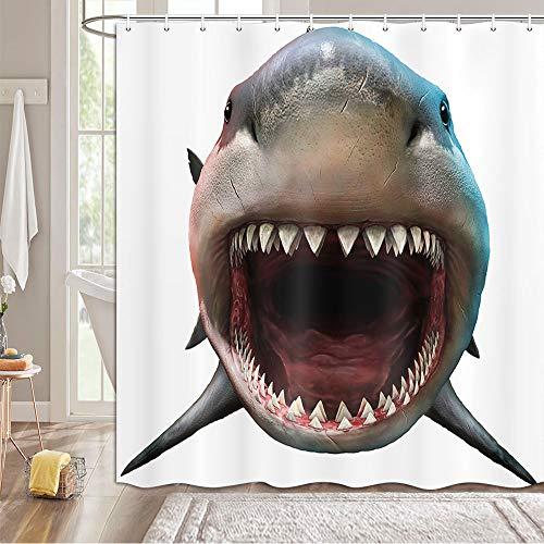 MERCHR Big Mouth Shark Duschvorhänge, lustiger Hai, beißender Meerestier, Badevorhänge, Stoff, Badezimmer-Dekor-Sets mit Haken, wasserdicht, waschbar, 175,3 x 177,8 cm, Weiß & Blau