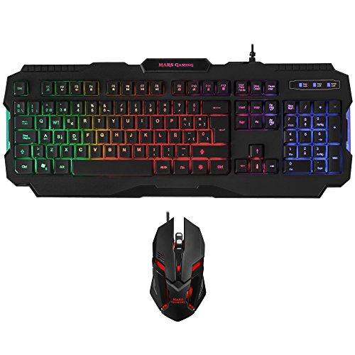 MARSGAMING Pack Gaming de Teclado y ratón (iluminación RGB, 15 Teclas de función, antighosting, 4000 dpi, Sensor óptico, 6 Botones)
