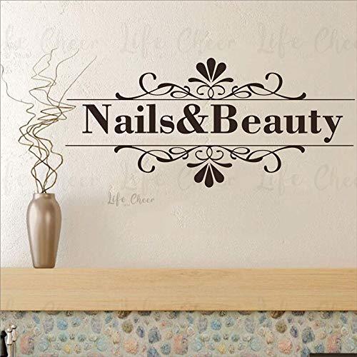 Nail Artist abnehmbare Wandbilder Nägel und Beauty Logo Wandtattoo Blumenmuster Nagelstudio WandaufkleberNägel Studio Dekor