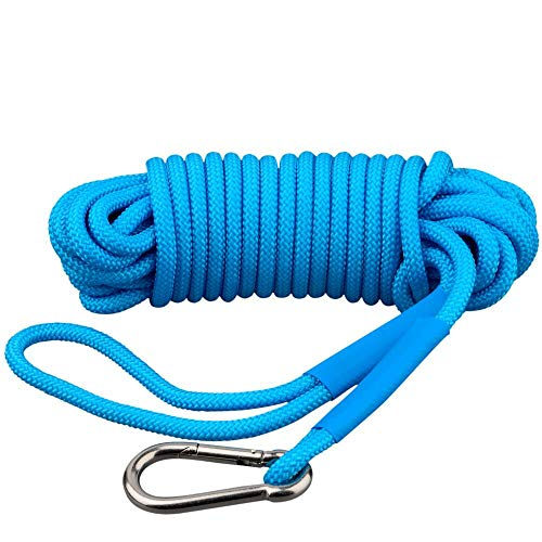 MUTUACTOR Magnet Fishing Rope,Polyester Rope with Tensile Force 600lbs Tie Down,Tent Rope,Carabiner Rope 4 Inner Braided Cords Diameter 0.3inch(7.6mm) for Hiking Camping and Traveling Outdoor Magnet