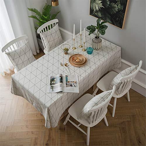 leeg wit polyester tafelkleed, geometrisch patroon, waterdicht en gemakkelijk schoon te maken, geschikt voor familie eettafel, picknick, partij 140x200cm