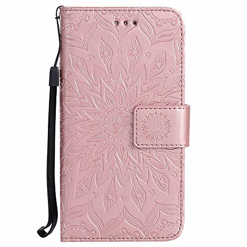 Ascend P7 Case, Dfly-US Premium Soft PU Leather Embossed Mandala Design Kickstand Function Card Slot Holder Slim Flip Protective Wallet Cover for Huawei Ascend P7, Rose Gold
