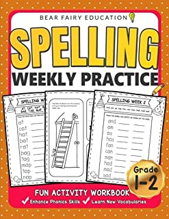 Spelling Weekly Practice for 1st 2nd Grades, Activity Workbook for Kids, Language Arts For Kids: Grade 1 Workbook, Grade 2 Workbook