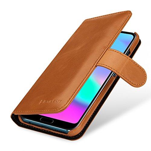StilGut Talis Lederhülle kompatibel mit Huawei Honor 10 mit Kreditkarten-Fächern aus echtem Leder. Seitlich aufklappbares Flip Hülle in Brieftaschen-Format, Cognac