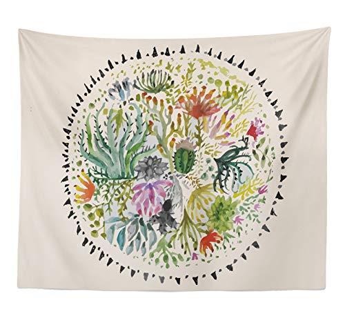 E-Stream Kaktus Wandteppich für Groß, Grün und Schwarz Gedruckt Tapisserie Anlage Wanddekoration für Schlafzimmer Küche Wohnzimmer 59in x 79in(150mmx200mm,Queen Size Round Cactus