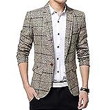 SITENG Men's Tweed Plaid Blazer Jacket Casual Business Long Sleeve One Button Slim Fit Suits Single-Breast Sport Coat Outwear(Khaki US M)