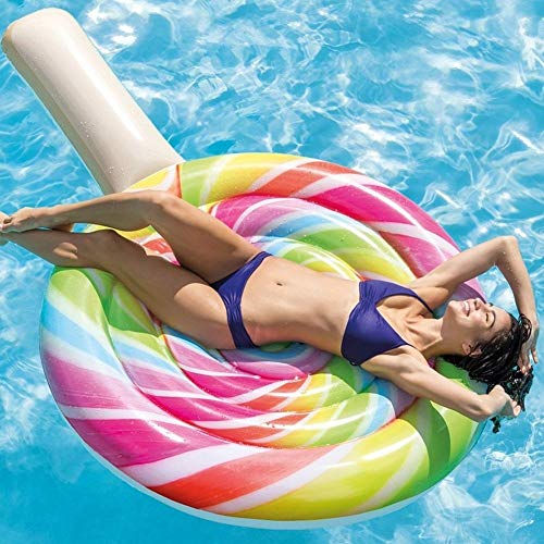 TrAdE Shop Traesio- MATERASSINO Isola Gonfiabile Lollipop Lecca Lecca Mare Piscina 208X135CM