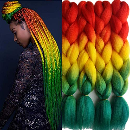 24inch Black to Midnight Blue Two Tone Ombre Color Synthetic Braiding Hair Extensions Jumbo Braids Hair Bulk 5packs/lot for Crochet Hair (red/yellow/green)