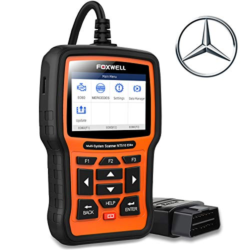 FOXWELL NT510 Elite Scanner for Mercedes Benz/Sprinter/Smart Full System BiDirectional OBD2 Code Reader Professional Automotive Diagnostic Scan Tool w/HVAC ABS Bleed SRS TPMS Transmission Oil Reset