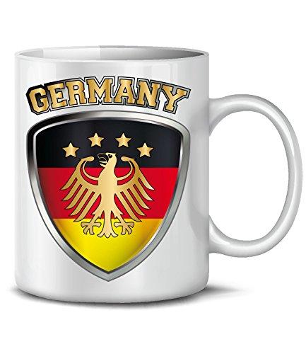 Golebros Deutschland Germany Fan Artikel 4699 Fuss Ball Welt Europa Meisterschaft EM 2020 WM 2022 Kaffee Tasse Becher Geschenk Ideen Fahne Flagge Team Weiss