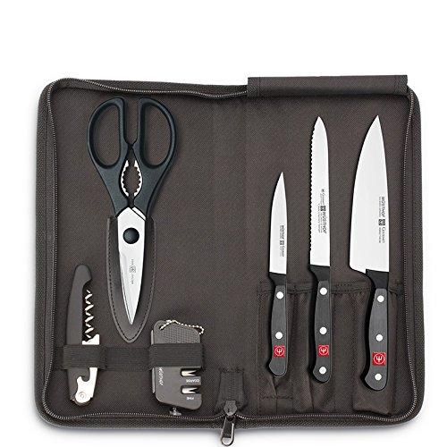 Wüsthof Traveller - Juego de cuchillos (acero, 32,5 x 15,5 x 3 cm, 6 unidades), color negro