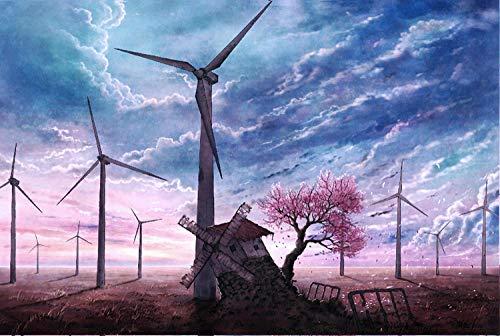 Excursión en globo aerostático Verano de Provenza 1000 piezas de rompecabezas de madera más allá de la nube de cinco centímetros por segundo Molino de viento partición de madera de 500 hojas sin imagen grande
