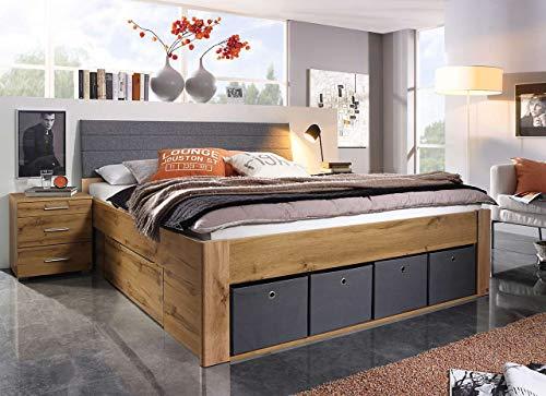 lifestyle4living Bett in Eiche-Dekor und grau 180x200 cm, Doppelbett mit Kopfteil und Schubladen und Stoffkisten