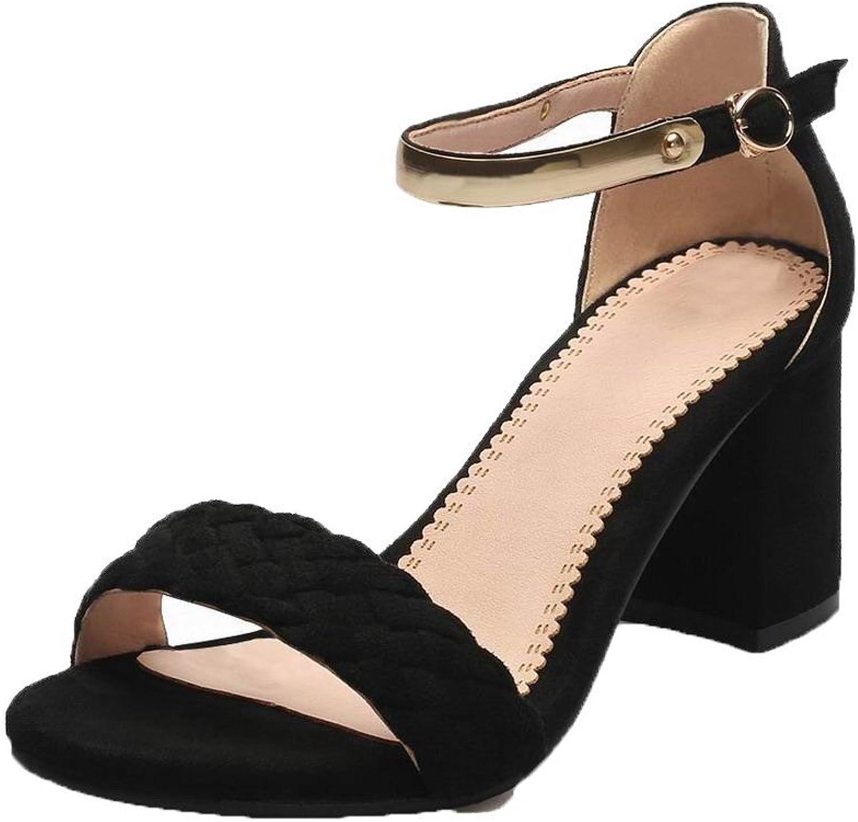WeenFashion Women's Imitated Suede Solid Buckle High-Heels Sandals, CA18LB05166