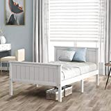 LIFE CARVER Single Wooden <span class='highlight'>Bed</span> Frame with Headboard and Footboard, Pine Wood <span class='highlight'>Bed</span> for Kids <span class='highlight'>Bed</span>room, Ivory