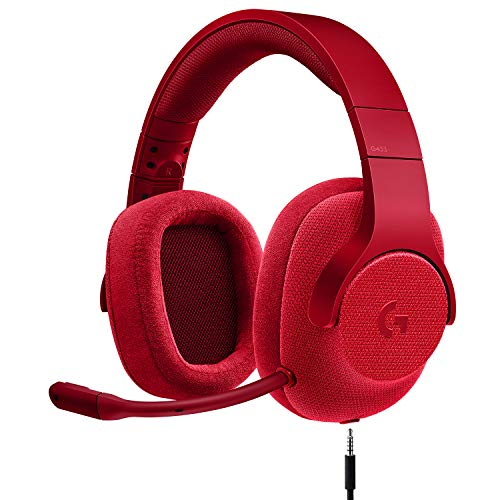 Logitech G433 7.1 Wired Gaming Headset with DTS Headphone: X 7.1 Surround for PC, PS4, PS4 PRO, Xbox One, Xbox One S, Nintendo Switch – Fire Red