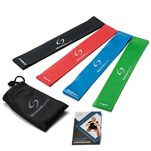 Bandas de Resistencia - Paquete de 4 bandas de ejercicio Premium, unisexo, de material de látex natural y con garantía por vida, para mejorar la movilidad y la fuerza (Yoga, Pilates o para la rehabilitación de lesiones),