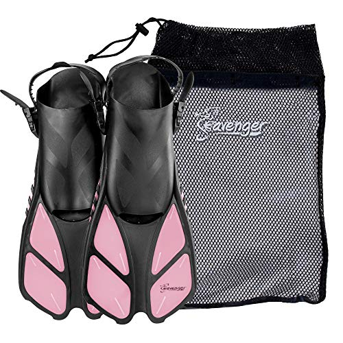 Seavenger Torpedo Swim Fins | Travel Size | Snorkeling Flippers with Mesh Bag for Women, Men and Kids (Bubblegum Pink, S/M)