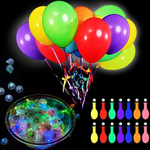 Juego de 200 Globos de Luz de LED Incluyes 100 Piezas Globos de LED Mini Bola Redonda de Luz y 100 Globos de Colores Variados 12 Pulgadas para Globos de Linterna de Papel Luces Brillan en Oscuridad