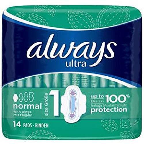 Immer - Ultra Normal - 4 Packungen - 14 Pads pro Packung - Größe 1 - Hygienepads mit Flügeln - 100% Auslaufschutz - dermatologisch getestet - Schonend für die Haut