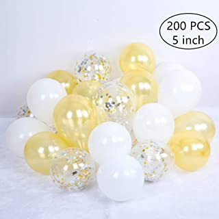 Tim&Lin 5 inch Gold Confetti and White Premium Latex Balloons - Party Decoration Supplies Balloons - Great for Wedding, Birthday, Bridal/Baby Shower, or Any Parties and Events, Pack of 100
