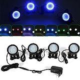 4 luces LED RGB sumergibles para acuarios, estanques, iluminación de jardín, IP68, ampliamente utilizado en la iluminación de acuarios, estanques, jardines y jardines de roca