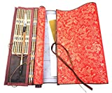 DelieKee 2 Pcs Reusable Chinese Magic Cloth Water Paper with 1 Bamboo Brush & 1 Wrap, Chinese Calligraphy Set for Beginners Writing Practice  (Red,Large & Small Cloth,4 Items)