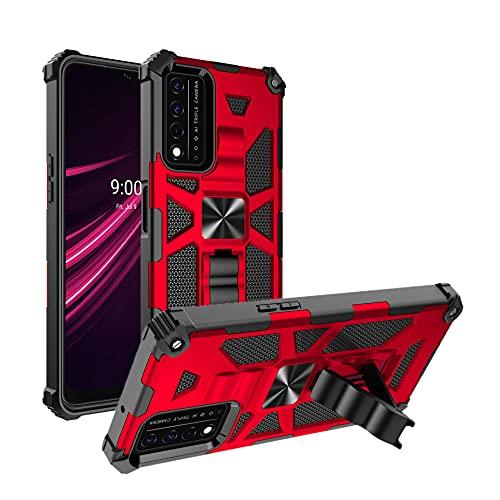 Cresee T-Mobile REVVL V+ 5G Case, Rugged PC + TPU 2-Layer Shockproof Cover, Magnetic Mount Compatible, Built-in Kickstand Stand Phone Case for TMobile Revvl V Plus 5G - Red
