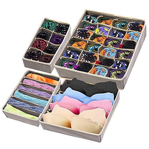 matana - 4er Set Schubladeneinsatz Aufbewahrungsboxen für Unterwäsche, BH, Socken
