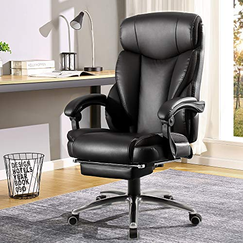 BERLMAN Ergonomic Recliner PU Leather High Back Office Chair Managerial Chair Executive Chair Desk Chair Computer Chairwith Footrest (Black)