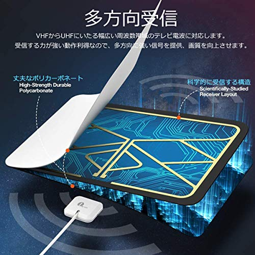 1byone室内ペーパーアンテナ地デジ卓上アンテナUHFVHF対応ブースター付き80KM受信範囲USB式超薄型設置簡単ホワイト