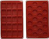 INTVN Mini rectángulo de silicona y molde de waffle redondo, molde de galleta de waffle, molde de chocolate, molde de caramelo, molde de silicona para hornear, 2 piezas