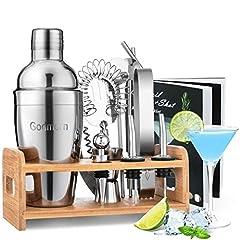 Cocktail Set, Godmorn rostfritt stål Cocktail Shaker Set, 15 Del Bartender Set med Bättre Bamboo Stand, Receptbok, Mätning Mugg och Bar Spoon, 550 ml Cocktail Gift Set för Hem eller The Bar