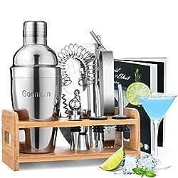Godmorn Cocktail Set, Edelstahl Cocktail Shaker Set, 15 Teiliges Barkeeper Set mit Bessere Bambus Ständer, Rezeptbuch, Messbecher und Bar Löffel, 550 ml Cocktail Geschenk Set für Zuhause oder die Bar
