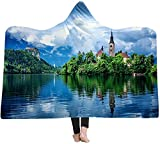 ZHEYANG Batamanta con Capucha Manta Sofa Manta de Tiro de Franela de Microfibra con Estampado Forest Oasis Manta de Lana cálida Suave y esponjosa Model:G01509
