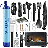 Gifts for Men Dad Husband, SUPOLOGY Emergency Kits Gear, 23-in-1 Cool Gadgets Tools with Water Filter for Camping, Hiking, Adventures, Backpack, Fishing, Hurricane (Upgrade Quality Box)