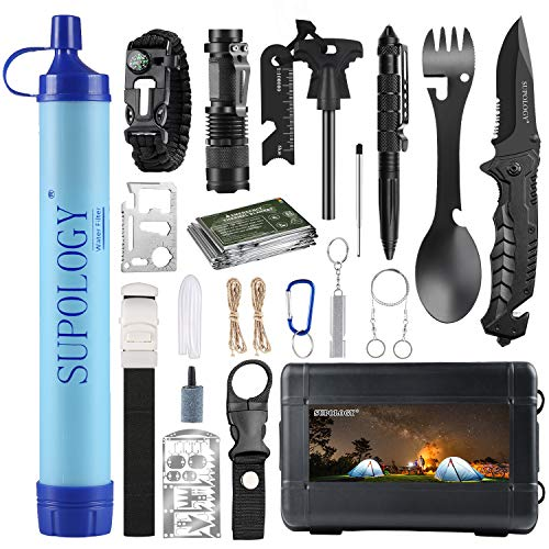 SUPOLOGY Emergency Survival Gear Kits -23 in 1 Outdoor Tactical Tools for Hiking/Adventures/Climbing Necessary - Water Filter,Flashlight,Tactical Pen,Spoon Fork,Survival Bracelet, Fire Starter ect.