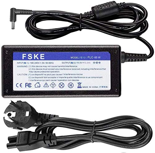 FSKE® 65W 19.5V 3.34A LA65NS2-01 450-AECL 450-AECO MGJN9 43NY4 Cargador de Laptop para DELL Inspiron 15 5000 3000 5559 5568 AC Adaptador, Notebook EUR Power Supply, 4.5 * 3.0mm