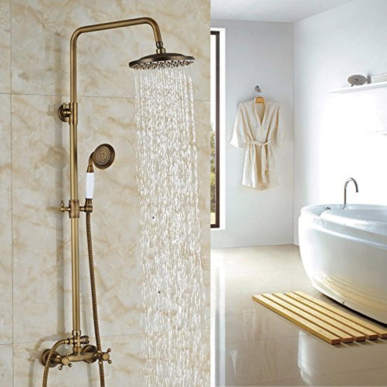 Luxurious shower Messing antik 8  Regen & Handheld Dusche Wasserhahn Set Wand Dusche System Dual Griffe, Schokolade