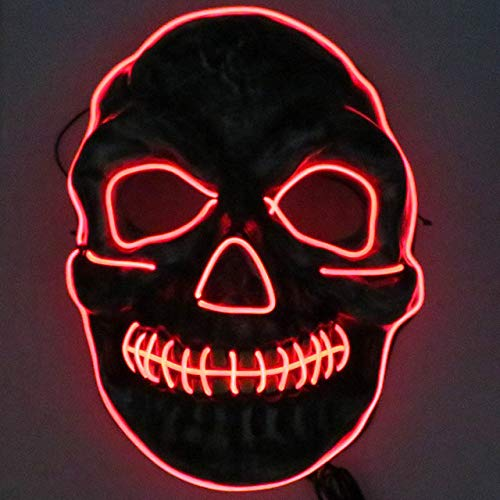 BFMBCHDJ Neon Masken Halloween Scary Schädel Maske LED Masque Maskerade Mascara Cosplay Karneval Party Masker Skeleton rot-2 One Size