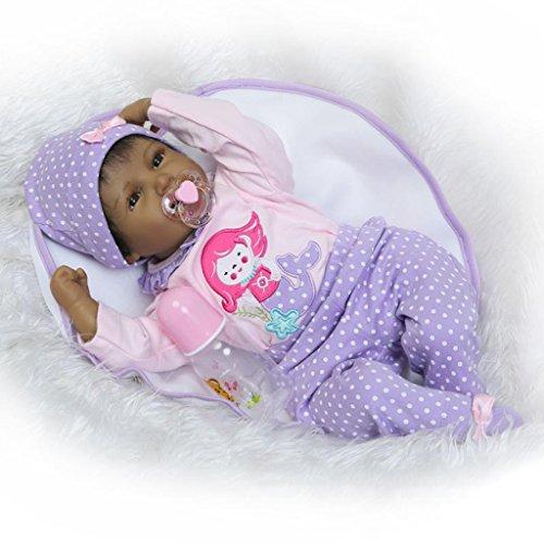 Nicery Reborn Baby El renacimiento de la muñeca Estilo indio Piel negra de simulación de vinilo suave silicona 20-22pulgadas de 48-55 cm niños amigo Lifelike Vivid ID55-9ES