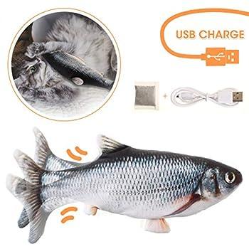 Charminer Jouet pour Chat,Jouet Poisson,Jouet Poisson Electronique Simulation en Mouvement USB Rechargeable avec Cataire (Noir)