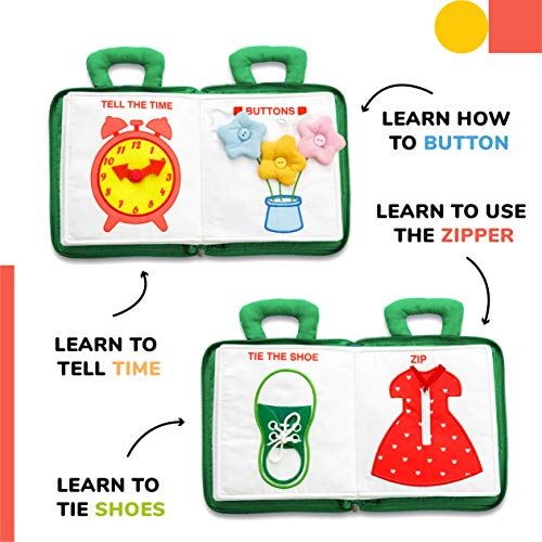 deMoca Quiet Book Montessori Toys for Toddlers – Travel Toy – Educational Toy with Toddler Activities Busy Book for Boys & Girls + Zipper Bag, Green