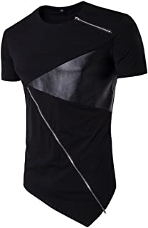 iLXHD Men T-Shirt Irregular Cotton Short Sleeve Hedging Slim Fit Blouse