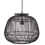 Stone & Beam Modern Round Rattan Ceiling Pendant Chandelier with Light Bulb, 12.6'H, Adjustable Hanging Height, Dark Brown