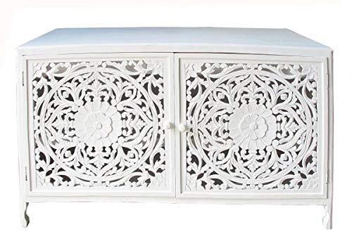 Saharashop Indische Kommode Holz Nr. 5, Orientalische Kommode 99 x 58 x 162 cm Weiß | Orient Vintage Kommodenschrank | Asiatische Möbel aus Indien