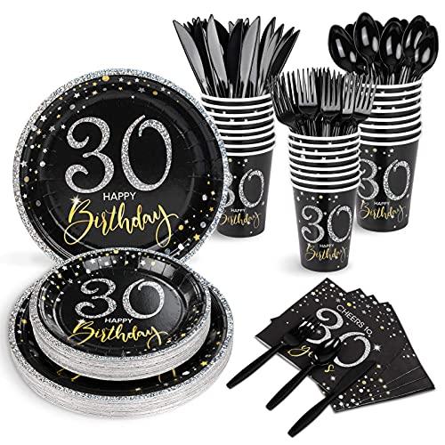 Juego de platos y servilletas de 30 cumpleaños para 24, suministros para fiestas de cumpleaños para hombres o mujeres, tazas, cuchillos, tenedores, cucharas incluidas, 192 unidades en total
