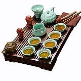 ufengke Longquan Celadon Set da tè Kung Fu, Sollievo di Loto Servizio da tè in Ceramica Vintage con Vassoio del tè Legno, per Regalo, La Famiglia E Ufficio -Verde Chiaro