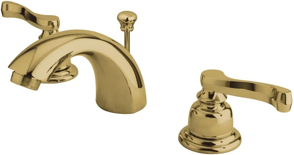 Kingston Brass Kb8954fl Royale Mini Widespread Lavatory Faucet With Brass Pop Up Drain Polished Chrome Polished Brass Touch On Bathroom Sink Faucets